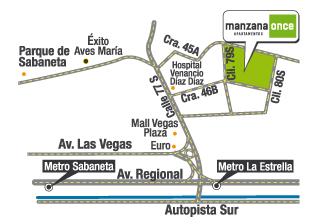 ubicación de apartamentos de Manzana Once en Sabaneta de Crear Cimientos