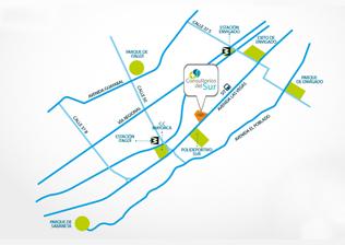 Mapa Consultorios del Sur, proyecto de salud en Envigado de Crear Cimientos