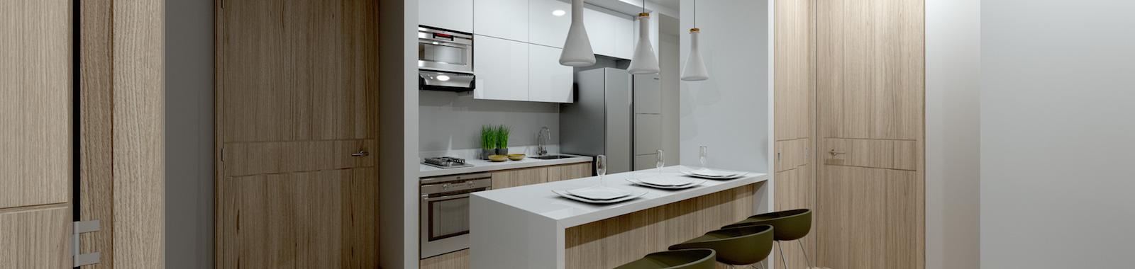 Entrada y cocina de Class Suites, proyecto de Crear Cimientos