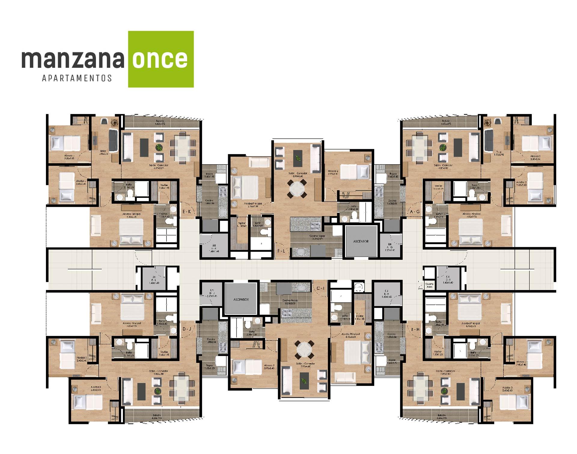 Manzana once apartamentos en sabaneta crearcimientos for Apartamentos pequenos planos